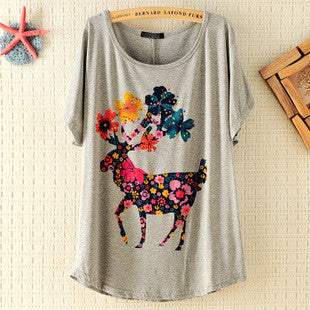 Retro Fawn Flower Printed Short-sleeved T-shirt - lilyby