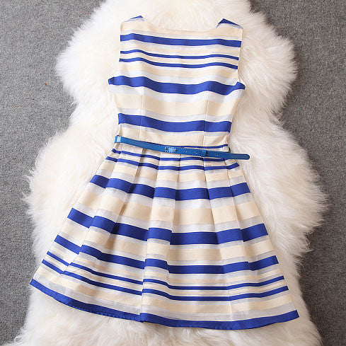 Sleeveless Navy Fashion Slim Striped A-line Bubble Skirt