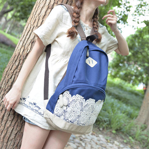 Fresh Simple Lace Canvas School Backpacks - lilyby