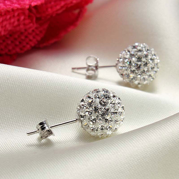 Cheap Crystal Ball Rhinestone Silver Earrings&Stud - lilyby
