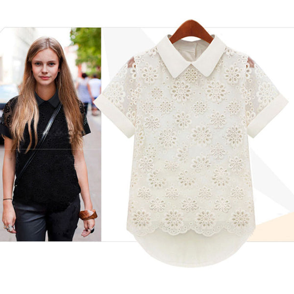 Pretty Doll Collar Lace Irregular Pierced Chiffon Shirt - lilyby