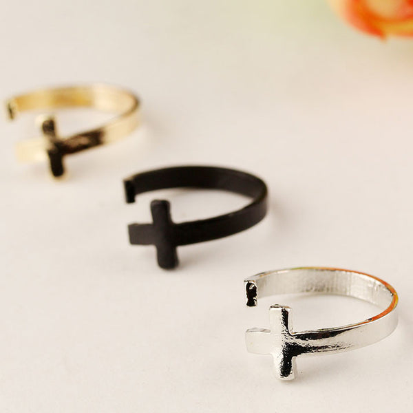 Retro Punk Cross Open Ring - lilyby