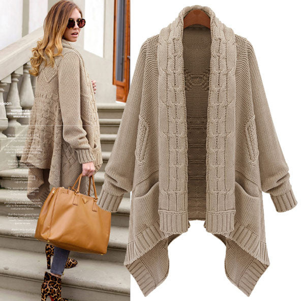 Retro Thick Loose Cable- Knit Wool Cardigan Coat - lilyby