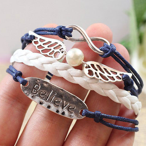 Cute Angel Wing Believe Infinity Bracelet - lilyby