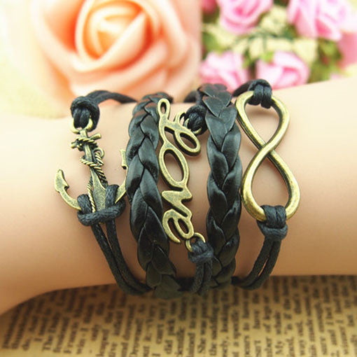 Cute Love Anchor Weave Infinity Bracelet - lilyby