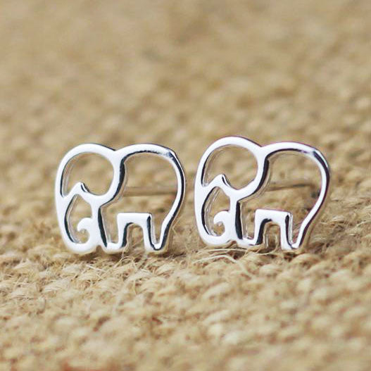 Cute Hollow Elephant Silver Earring Stud - lilyby