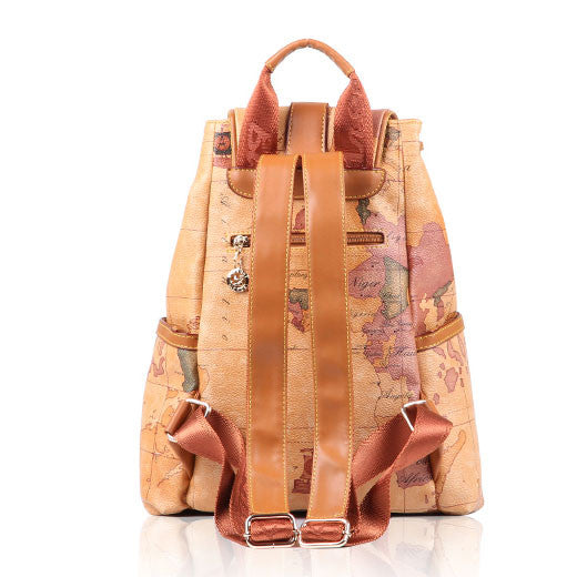 Retro Leisure World Map Large School Leather Backpacks