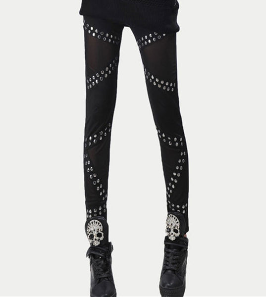 Retro Rivets Stitching Mesh Pants& Leggings - lilyby