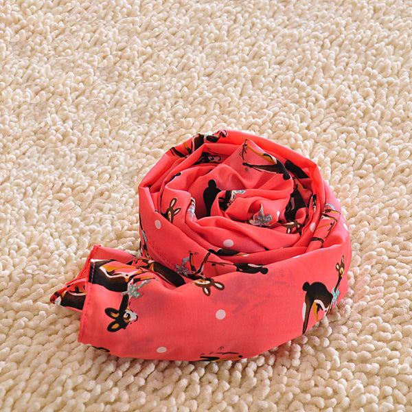 Adorable Elk Red Animal Voile Infinity Scarf - lilyby