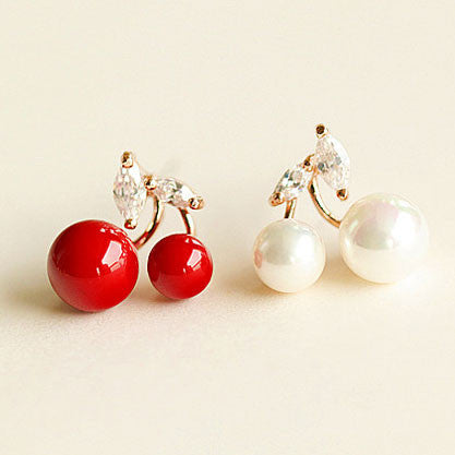 Cute Cherry Pearl 925 Silver Ear Clips/ Studs - lilyby