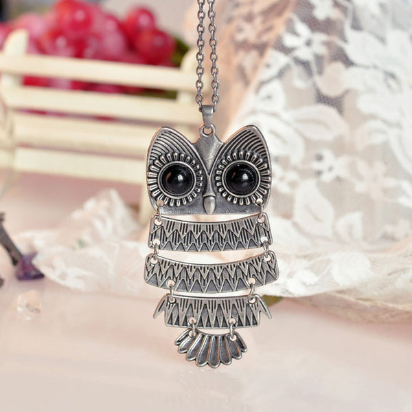 Retro Cute Owl Sweater Necklace - lilyby