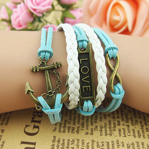 Retro Anchor Love Infinity Weave Bracelet - lilyby