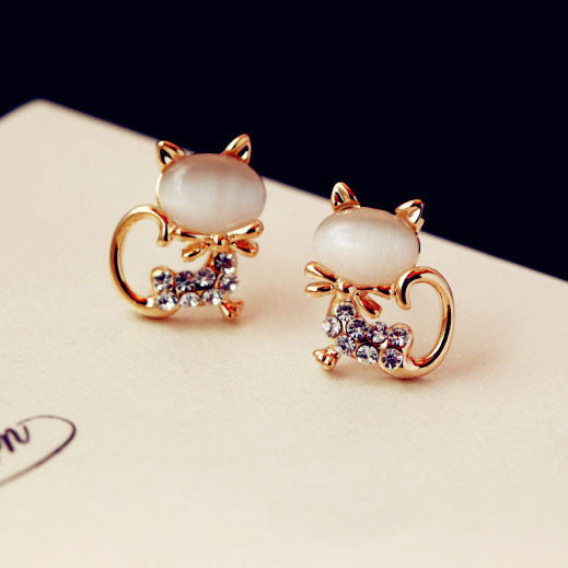 Funny Cat Opal Rhinestone Earrings Studs - lilyby