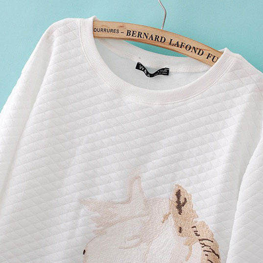 Embroidery Horse Head Unicorn Cotton Sweaters - lilyby