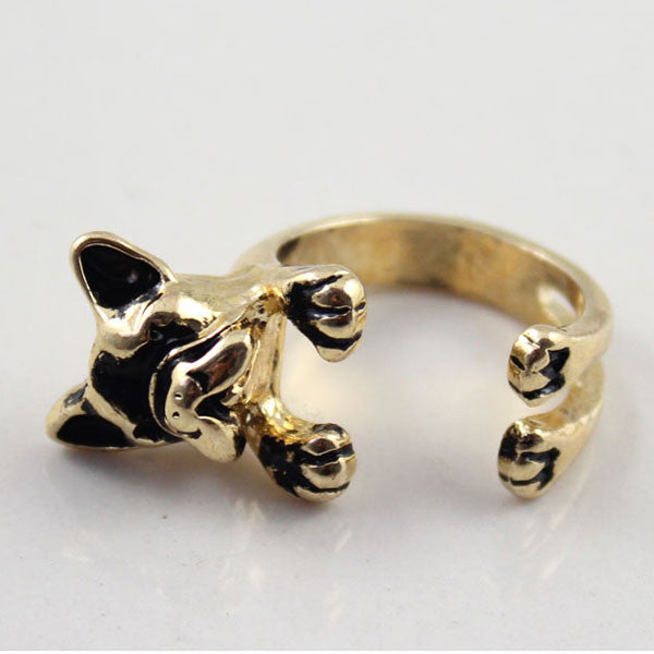 Cute Dog Gold Color Opening Ring - lilyby
