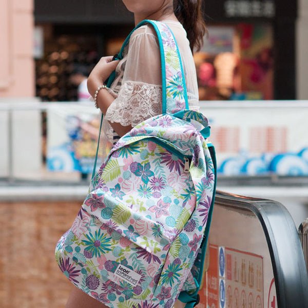Fresh Summer Flower Pattern Waterproof Backpack - lilyby