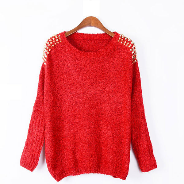 Unique Bat Sleeve Rivets Chain Pullover Sweater
