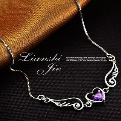 Angel Lover Wing Heart Silver Necklace - lilyby
