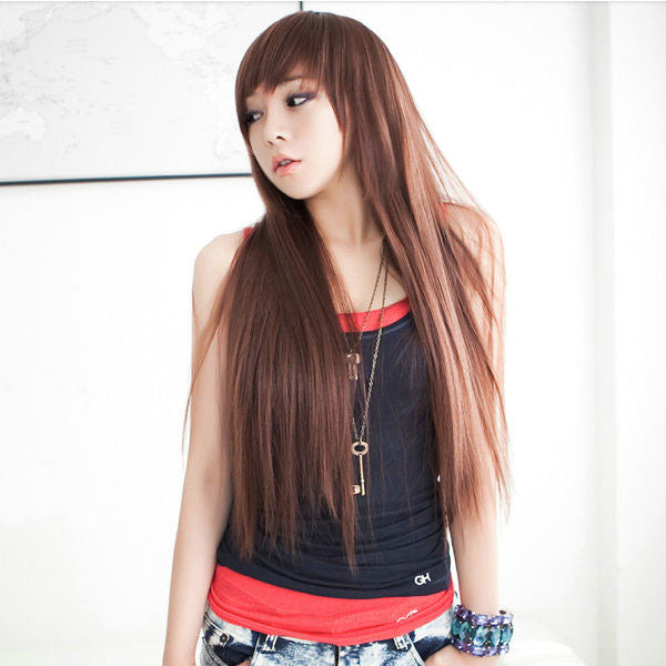 Latest Natural Brown Long Straight Hair Wigs - lilyby