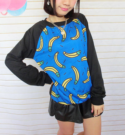 Cool Banana Printed Sleeve Thin Sweater - lilyby