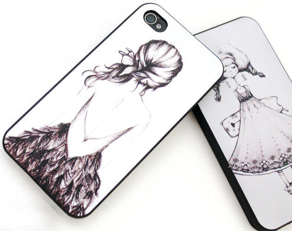 Hand-drawn Sketch Girl Print Iphone Case for Iphone 4/4s/5 - lilyby