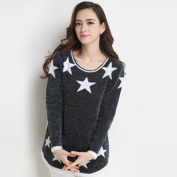 Lady New Gray Star Hippocampus Loose Sweater - lilyby