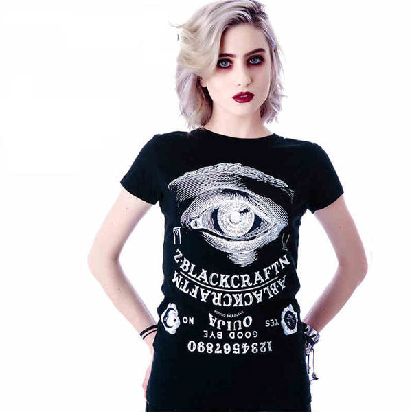 Fashion Creative Eye Alphanumeric Printing T-shirt - lilyby
