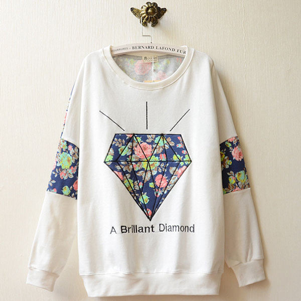 School Fashion Diamond Floral Print Long Sleeve Sweater - lilyby