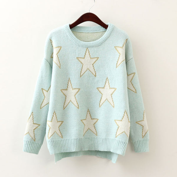Star Pullover Pretty Long Sleeve Sweater