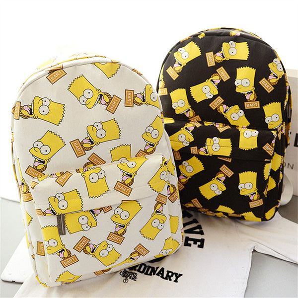 Cartoon Concise Simpson School Canvas Backpack Schoolbag - lilyby