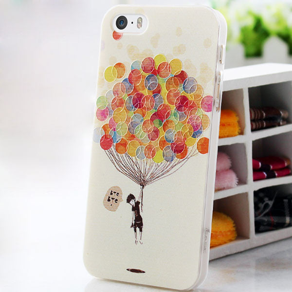 Deer/Eiffel Tower/Balloon Painted Cartoon Relief Iphone 5s Case - lilyby