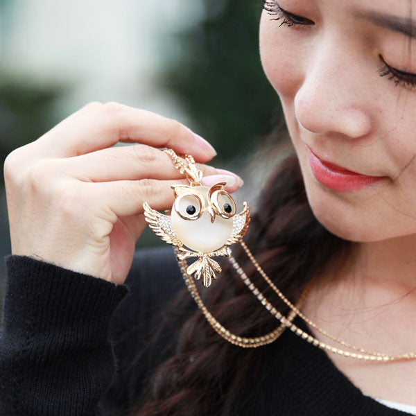 Cute Owl Opal Long Necklace Sweater Chain - lilyby