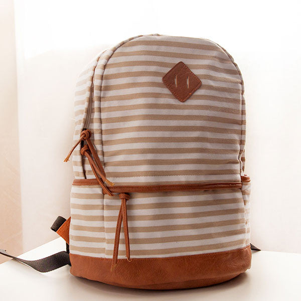 Casual Striped Canvas Backpacks - lilyby
