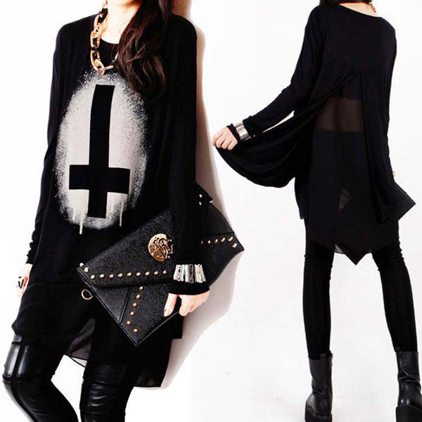 Punk Style Irregular Chiffon Stitching Long-sleeved T-shirt - lilyby