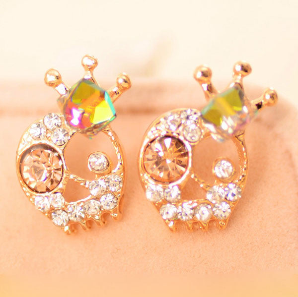 Funny Skull Diamond Crown Ear Studs - lilyby