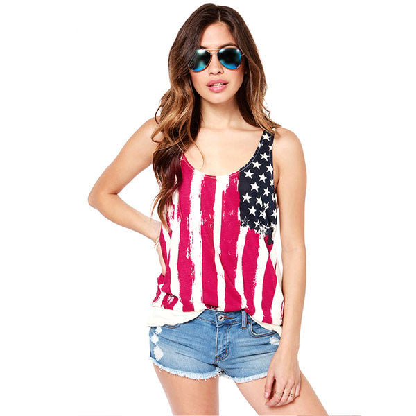 Fashion Star-Spangled Backside Sleeveless Chiffon T-shirt - lilyby