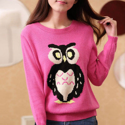 Cute Owl Print Cartoon Knit Sweaters - lilyby