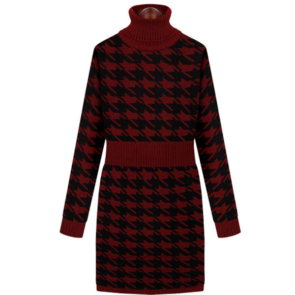 Plaid Pattern High Collar Sweater Dresses - lilyby