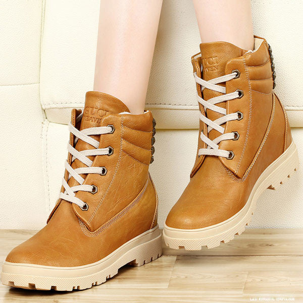 Fashion Height Increasing Shoes Rivet Leather Snow Boots - lilyby