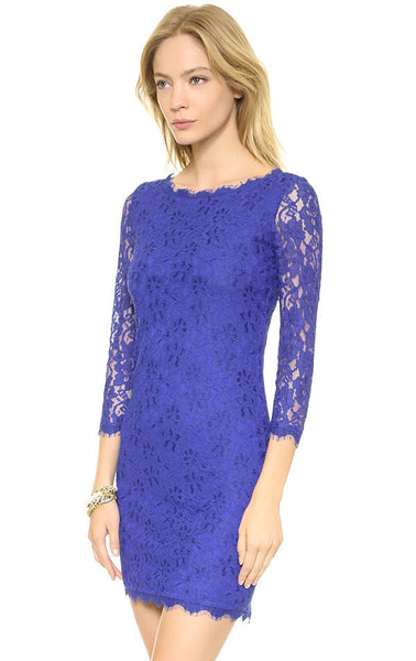 Crocheted Floral Print Embroidery Pierced Lace Dress - lilyby