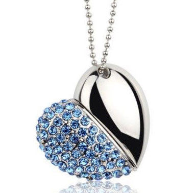 Modern Presents Personality Rhinestone Heart U Disk Pendant/Necklace - lilyby