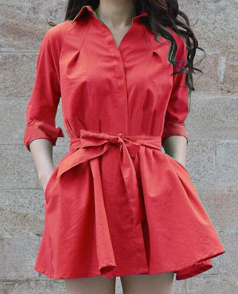 Casual Pure Color Bowknot Belt Pleated Dress - lilyby