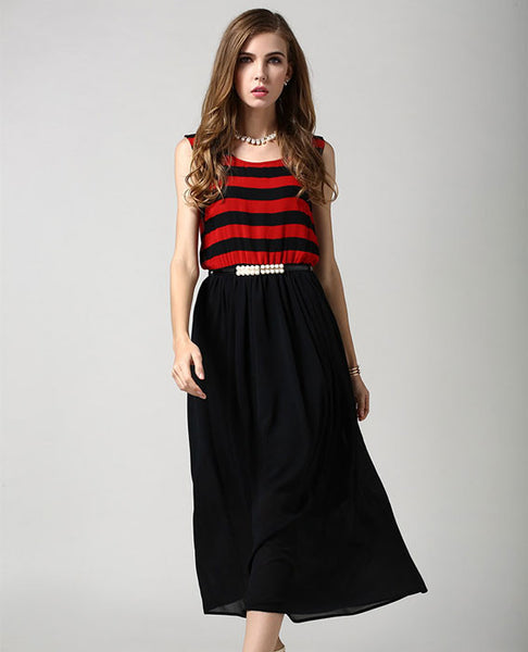 Fashion Striped Vest Stitching Sleeveless Chiffon Dress - lilyby