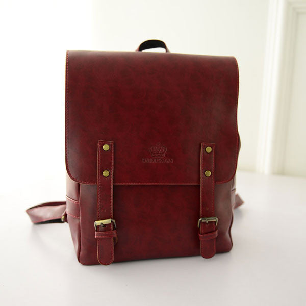 Retro Leather Double Belt British College Backpacks - lilyby