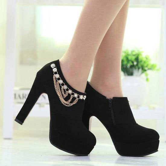 New Chain Lace Black High-heeled Shoes - lilyby