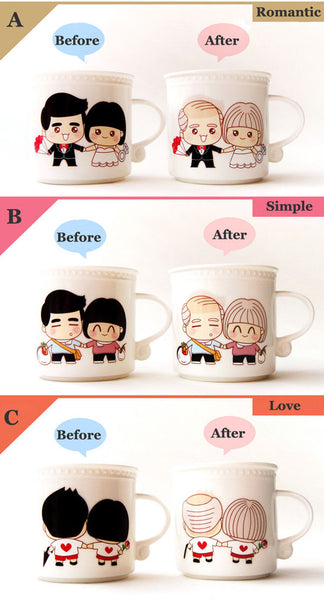 Grow Old Couple Discolor Birthday Gift Ceramics Cup - lilyby