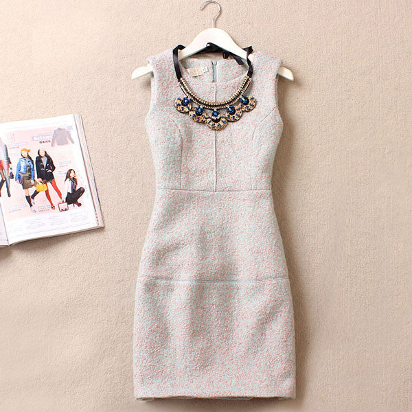 Graceful Beaded Collar Sleeveless Floral Woolen Dress/Party Dress - lilyby