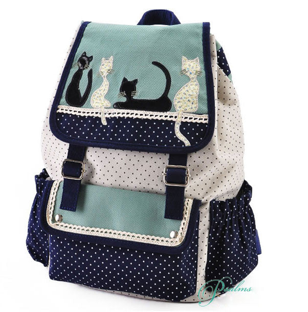 Fresh Cat Lace Leisure School Backpack - lilyby