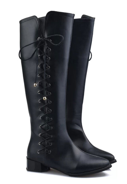 Winter Cross Shoelace High Knee Boots Martin Boots