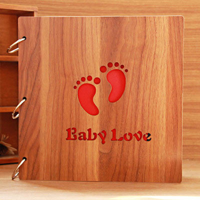 Christmas Present 12 inch Wood Manually Paste Photo Album - lilyby